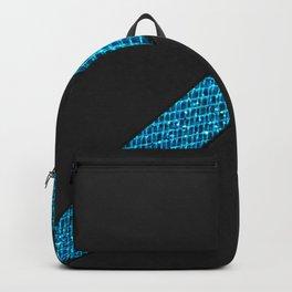 Elegant simple black leather blue gems stripe Backpack
