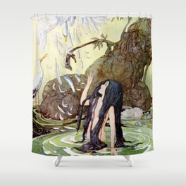 """The Marsh King's Daughter"" Fairy Art by Anne Anderson Shower Curtain"