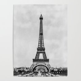 Eiffel tower, Paris France in black and white with painterly effect Poster