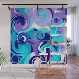 Finger Paint Swirls in Turquoise, Lavender, Purple, Navy Wall Mural