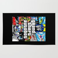 grand theft auto Area & Throw Rugs featuring Grand Theft Autobot (GTA G1 Transformers) by Demonlinks