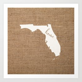 Florida is Home - White on Burlap Art Print