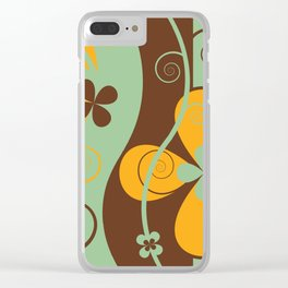 Modern Retro Floral Graphic Art Clear iPhone Case