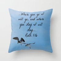 bible verse Throw Pillows featuring Ruth 1:16 Bible Verse Seagull Art Print by MorganLoriPhoto