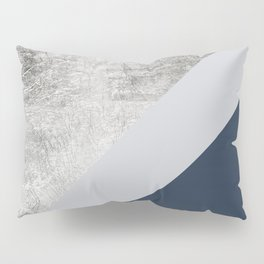 Modern minimalist navy blue grey and silver foil geometric color block Pillow Sham