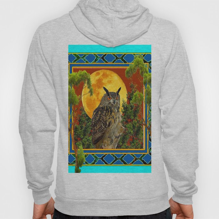WILDERNESS OWL WITH FULL MOON & TREES TURQUOISE Hoody