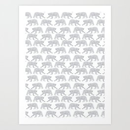 Polar Bears geometric trendy kids bear pattern print for boy or girl gender neutral Art Print