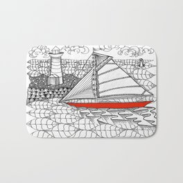 Sailors Dream Fair Winds Sailboat Zentangle Bath Mat