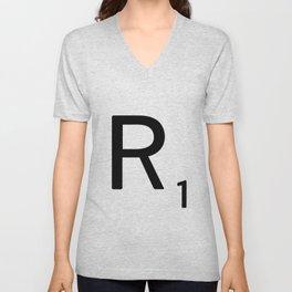 Letter R - Custom Scrabble Letter Tile Art - Scrabble R Initial Unisex V-Neck