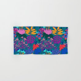 Psychedelic Jungle Garden in Pond Teal Hand & Bath Towel