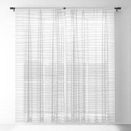 Horizontal Black Stripes on White Sheer Curtain