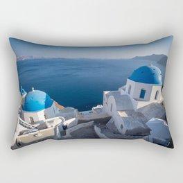 Blue Domes of Santorini Rectangular Pillow