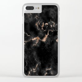Rose Gold and Black Marble Clear iPhone Case