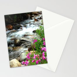 Flowers and flowing Canadian stream Stationery Cards