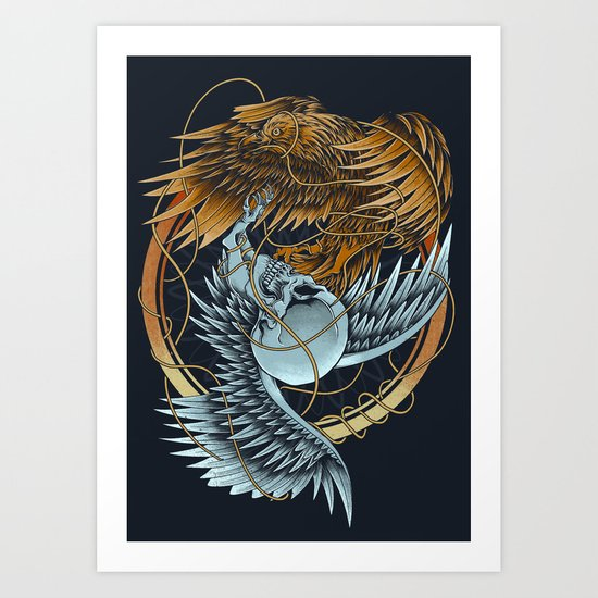 The Raven and the Owl Art Print