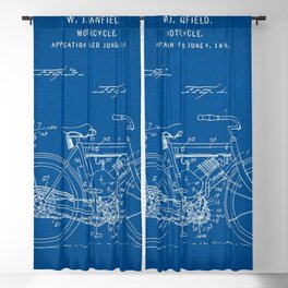 1919 W. J. Canfield Motorcycle Blueprint Patent Print Blackout Curtain
