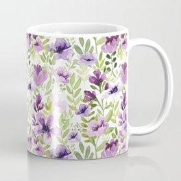 Watercolor/Ink Purple Floral Painting Coffee Mug
