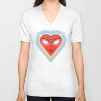 mirror V-neck T-shirts featuring MIRROR by Waldek Borowski