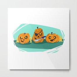 Silly Halloween Pumpkins Metal Print
