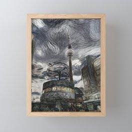 Fernsehturm Berlin van Gogh Style Framed Mini Art Print