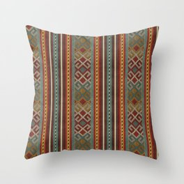 Oriental Kilim Teal, Mustard and Red Throw Pillow