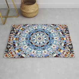 Blue Brown Folklore Texture Mandala Rug