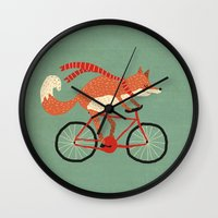 mr fox Wall Clocks featuring mr. fox by tesslucia