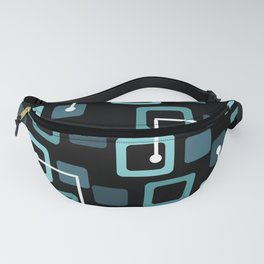 Midcentury 1950s Tiles & Squares Black Turquoise Fanny Pack