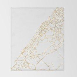 DUBAI UNITED ARAB EMIRATES CITY STREET MAP ART Throw Blanket
