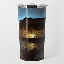 Fireworks in Naples by Oswald Achenbach Travel Mug