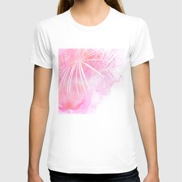 Abstract Pink Palm Tree Leaves Design T-shirt