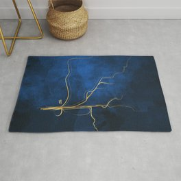 Kintsugi Electric Blue #blue #gold #kintsugi #japan #marble #watercolor #abstract Rug