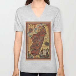 Map of Madagascar 1952 Unisex V-Neck