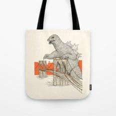 Godzilla vs. the Brooklyn Bridge Tote Bag