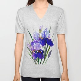 Garden Irises, Blue Purple Floral Design Unisex V-Neck