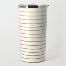 Gold Paris Stripe Pattern Travel Mug