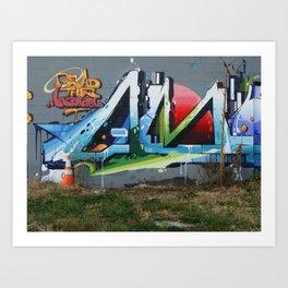 Bright Graffiti and a Lonely Traffic Cone Art Print