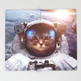 Cat in space Throw Blanket