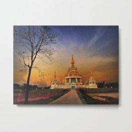 Buddhist Temple At Twilight. Metal Print