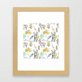 Cute hand painted blue pink yellow watercolor tropical llamas Framed Art Print