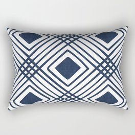 Criss Cross Diamond Pattern in Navy Blue Rectangular Pillow