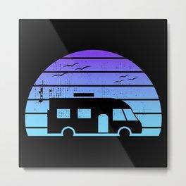 Modern Motorhome Silhouette at Sunset Metal Print