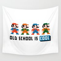 mario Wall Tapestries featuring Mario by PixelPower