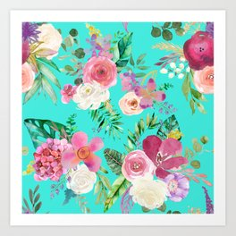 Summer Tropical Floral Bouquet in Turquoise Art Print