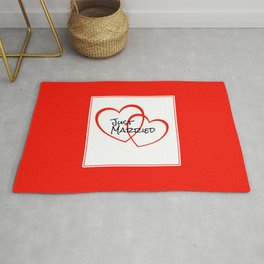 Just Married Red Hearts Rug