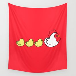 Chicken Family Wall Tapestry