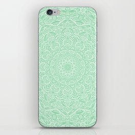 Most Detailed Mandala! Mint Green Color Intricate Detail Ethnic Mandalas Zentangle Maze Pattern iPhone Skin