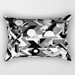 GEOMETRY SHAPES PATTERN PRINT (BLACK AND WHITE COLOR SCHEME) Rectangular Pillow