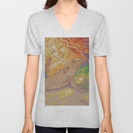Sun And Dragon, Bearded Dragon Art Unisex V-Neck