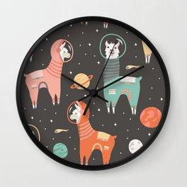 Astronaut Llamas in Space Wall Clock